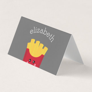 Cute Kawaii French Fries with Custom Name Card