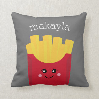 Cute Kawaii French Fries with Custom Name Cushion