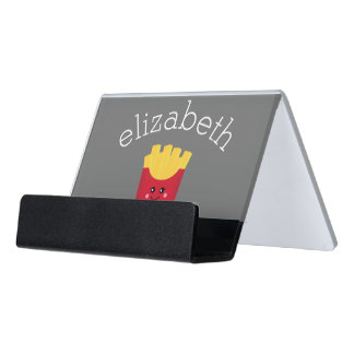 Cute Kawaii French Fries with Custom Name Desk Business Card Holder