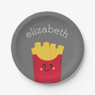 Cute Kawaii French Fries with Custom Name Paper Plate