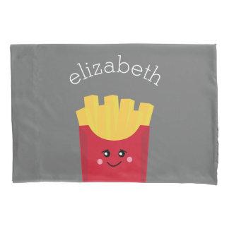 Cute Kawaii French Fries with Custom Name Pillowcase