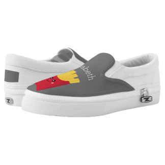 Cute Kawaii French Fries with Custom Name Slip-On Shoes