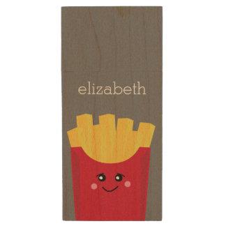 Cute Kawaii French Fries with Custom Name Wood USB Flash Drive