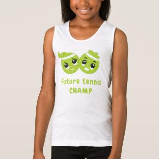 Cute Kawaii Fun Green Tennis Balls Cartoon Kids Singlet