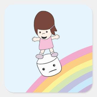 Cute Kawaii Girl on Rainbow w Marshmallow Sticker