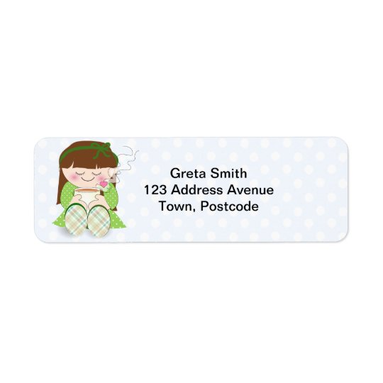 Cute Kawaii Girl Relaxing with Tea / Coffee Return Address Label