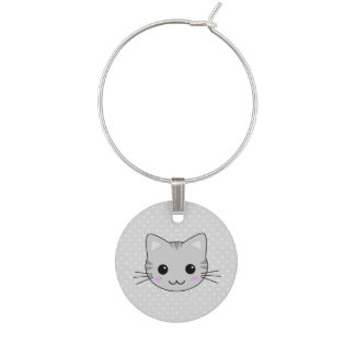 Cute Kawaii Gray Tabby Cat Cartoon Wine Charm