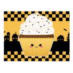 Cute Kawaii Halloween cupcake Postcard