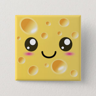 Cute Kawaii Happy Cheese 15 Cm Square Badge