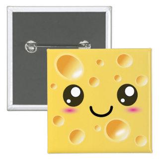 Cute Kawaii Happy Cheese Pinback Button