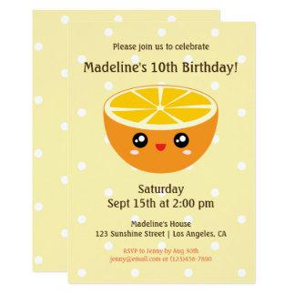 Cute Kawaii Happy Face Orange Kids Birthday Party Card