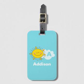 Cute Kawaii Happy Sunshine Monogram Add Your Name Luggage Tag