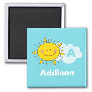 Cute Kawaii Happy Sunshine Monogram Add Your Name Magnet