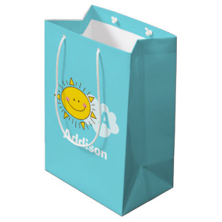 Cute Kawaii Happy Sunshine Monogram Add Your Name Medium Gift Bag