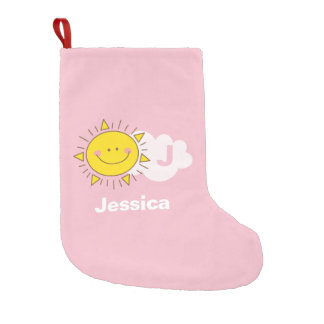 Cute Kawaii Happy Sunshine Whimsical Monogram Small Christmas Stocking