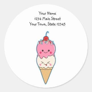 Cute Kawaii Ice Cream Round Sticker