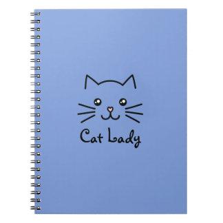 Cute Kawaii Kitten Cat Face Cat Lover Minimalist Spiral Notebook