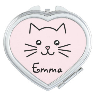 Cute Kawaii Kitten Cat Face With Pink Heart Nose Vanity Mirror