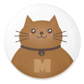 Cute Kawaii Kitten Cat Lover Whimsical Monogram Ceramic Knob