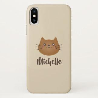 Cute Kawaii Kitten Cat Lover Whimsical Monogram iPhone X Case
