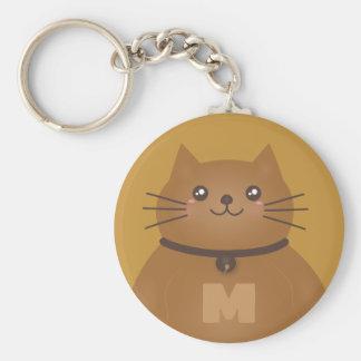 Cute Kawaii Kitten Cat Lover Whimsical Monogram Key Ring