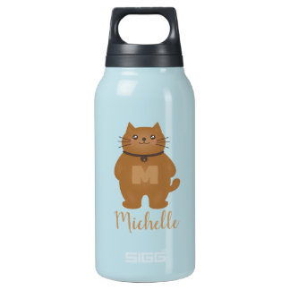 Cute Kawaii Kitty Cat Lover Monogram Add Your Name Insulated Water Bottle