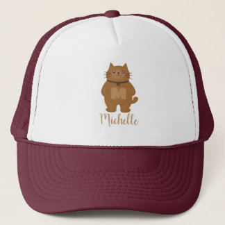 Cute Kawaii Kitty Cat Lover Monogram Add Your Name Trucker Hat
