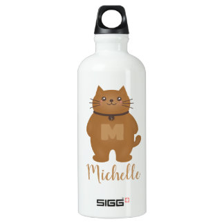 Cute Kawaii Kitty Cat Lover Monogram Add Your Name Water Bottle