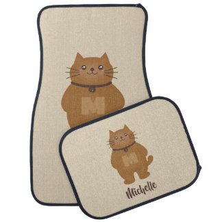 Cute Kawaii Kitty Cat Lover Whimsical Monogram Car Mat