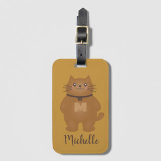 Cute Kawaii Kitty Cat Lover Whimsical Monogram Luggage Tag