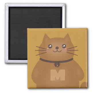 Cute Kawaii Kitty Cat Lover Whimsical Monogram Magnet