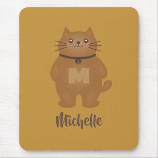 Cute Kawaii Kitty Cat Lover Whimsical Monogram Mouse Pad