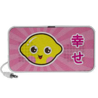 "Cute kawaii lemon cartoon with kanji ""happy"" iPhone speaker"