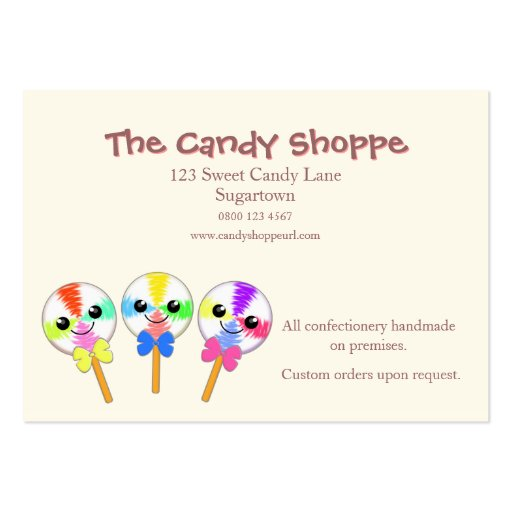 Cute Kawaii Lollipops Candy or Sweet Shop Business Card Templates