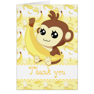 Cute Kawaii monkey holding banana birthday Card