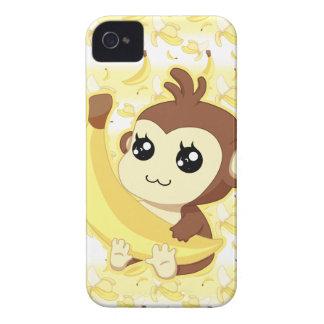 Cute Kawaii monkey holding banana iPhone 4 Case-Mate Cases