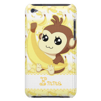 Cute Kawaii monkey holding banana iPod Case-Mate Case