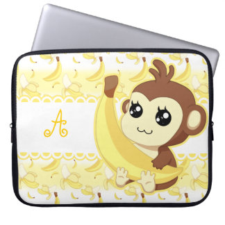 Cute Kawaii monkey holding banana monogram Laptop Sleeve