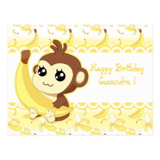 Cute Kawaii monkey holding banana Postcard