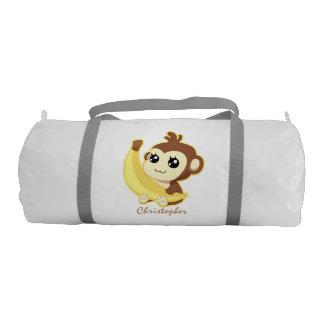 Cute Kawaii monkey holding banana with name Gym Bag