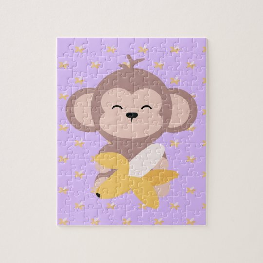 Cute Kawaii Monkey with Banana Jigsaw Puzzle