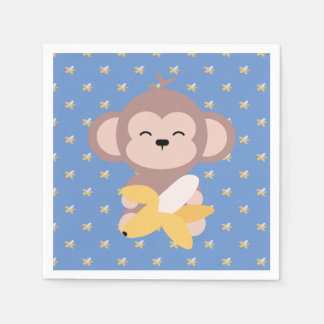 Cute Kawaii Monkey with Banana Napkin Paper Napkin