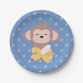 Cute Kawaii Monkey with Banana Paper Plate