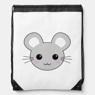 Cute Kawaii Mouse Cartoon Drawstring Bag