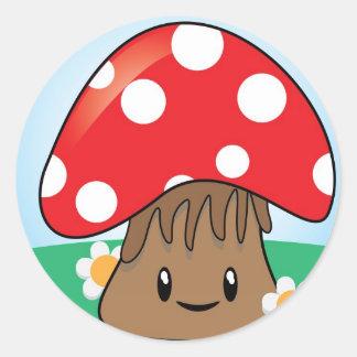 Cute Kawaii Mushroom Round Sticker
