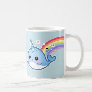 Cute kawaii narwhal with rainbow and sparkle stars basic white mug
