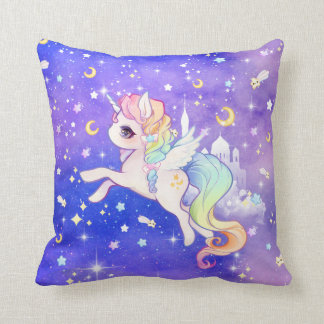 Cute kawaii pastel unicorn with moons and stars cushion