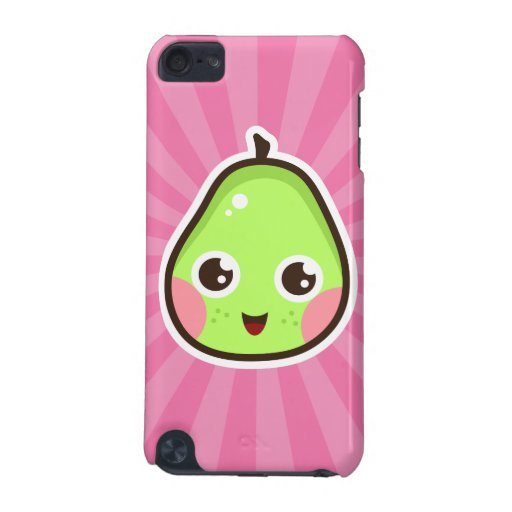 Cute kawaii pear on pink sunburst iPod touch case