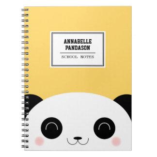 Cute Kawaii Peekaboo Panda Face Personalized Notebooks