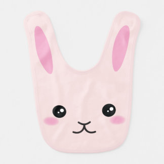 Cute, kawaii, pink bunny design bib